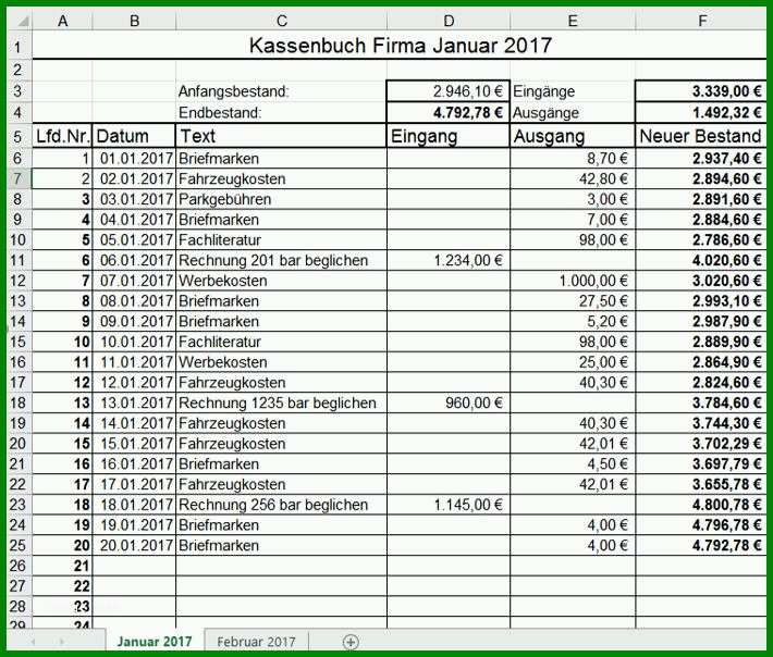 Unglaublich Kassenbuch Vorlage Muster Beispiel Excel ...