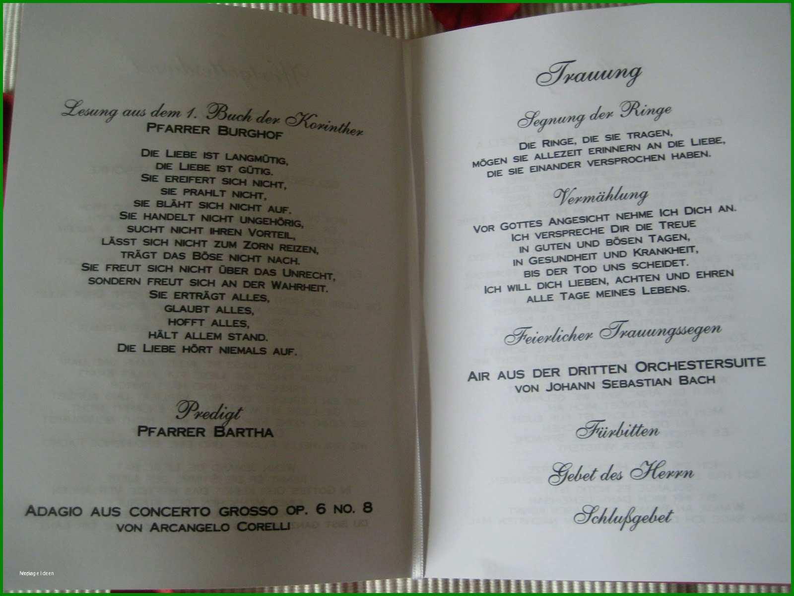 Inhalt Kirchenheft Hochzeit