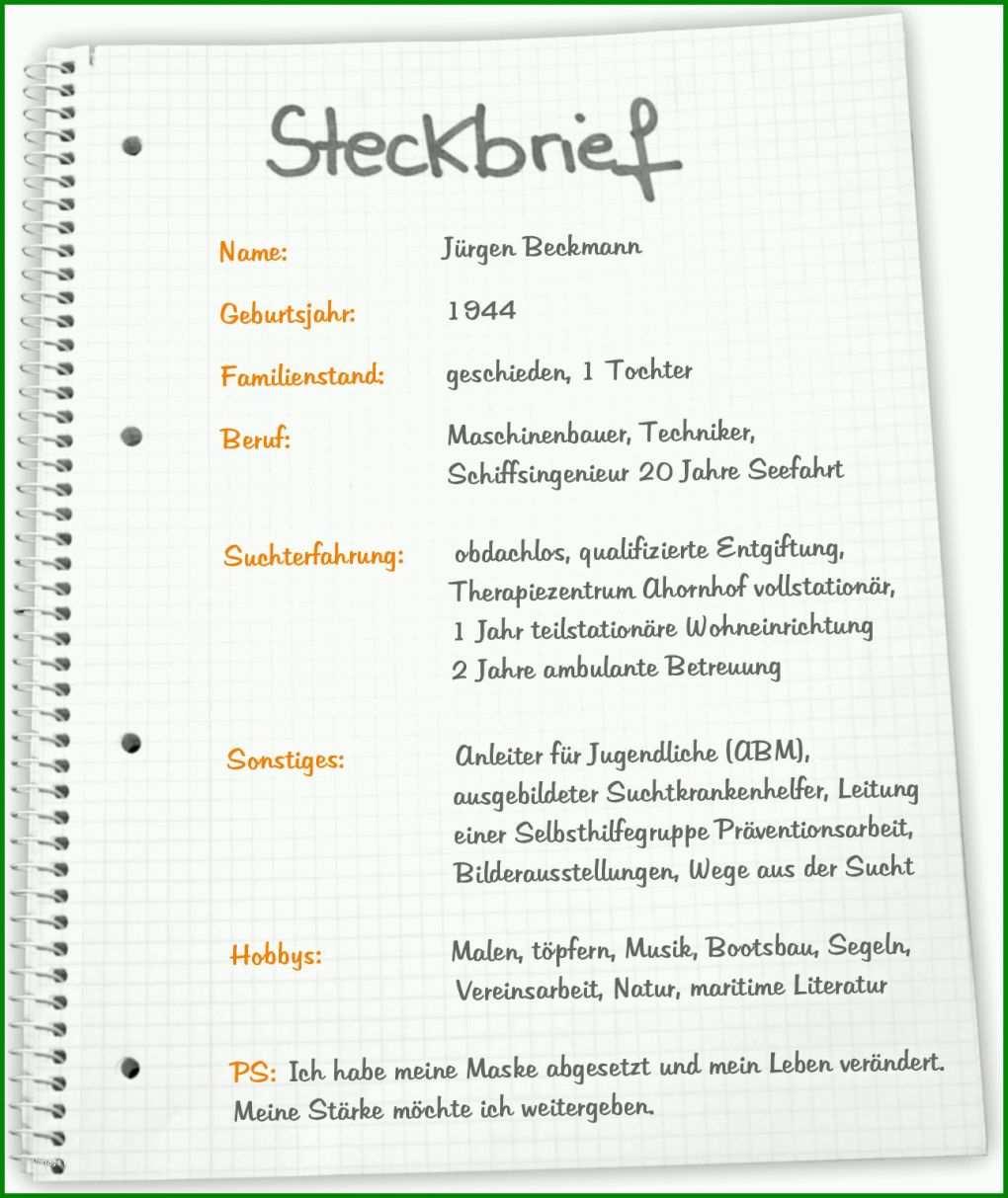Kreativ Steckbrief Erzieherin Kindergarten Vorlage