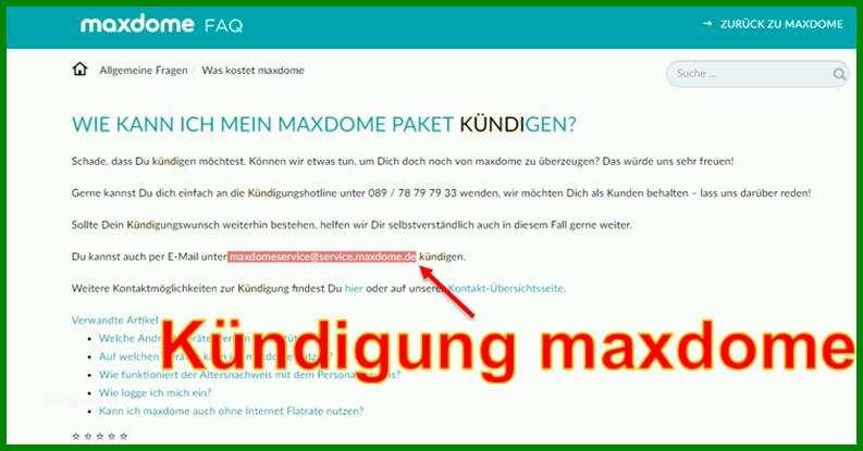 Kündigung Maxdome