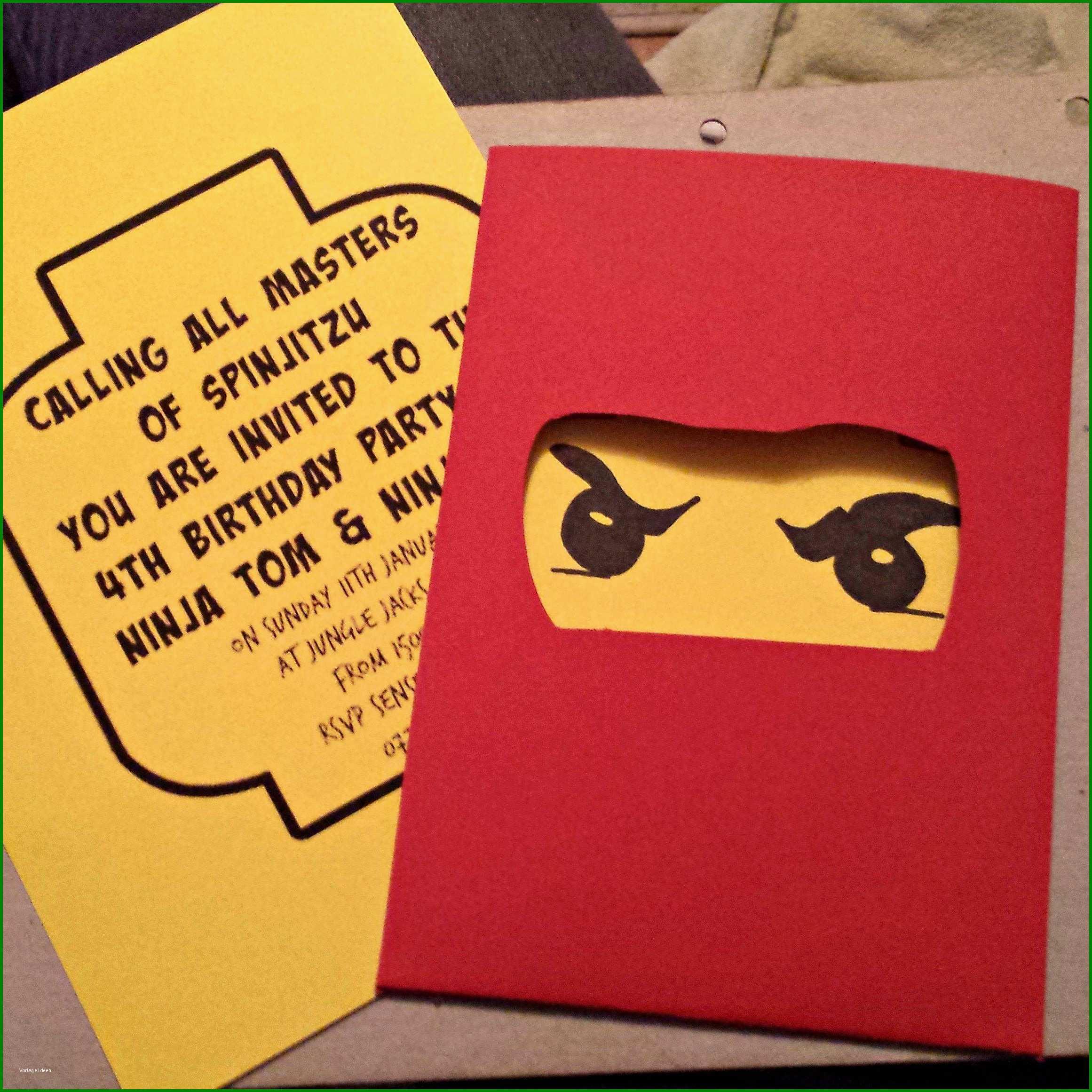 einzahl ninjago einladungskarten vorlage 474664