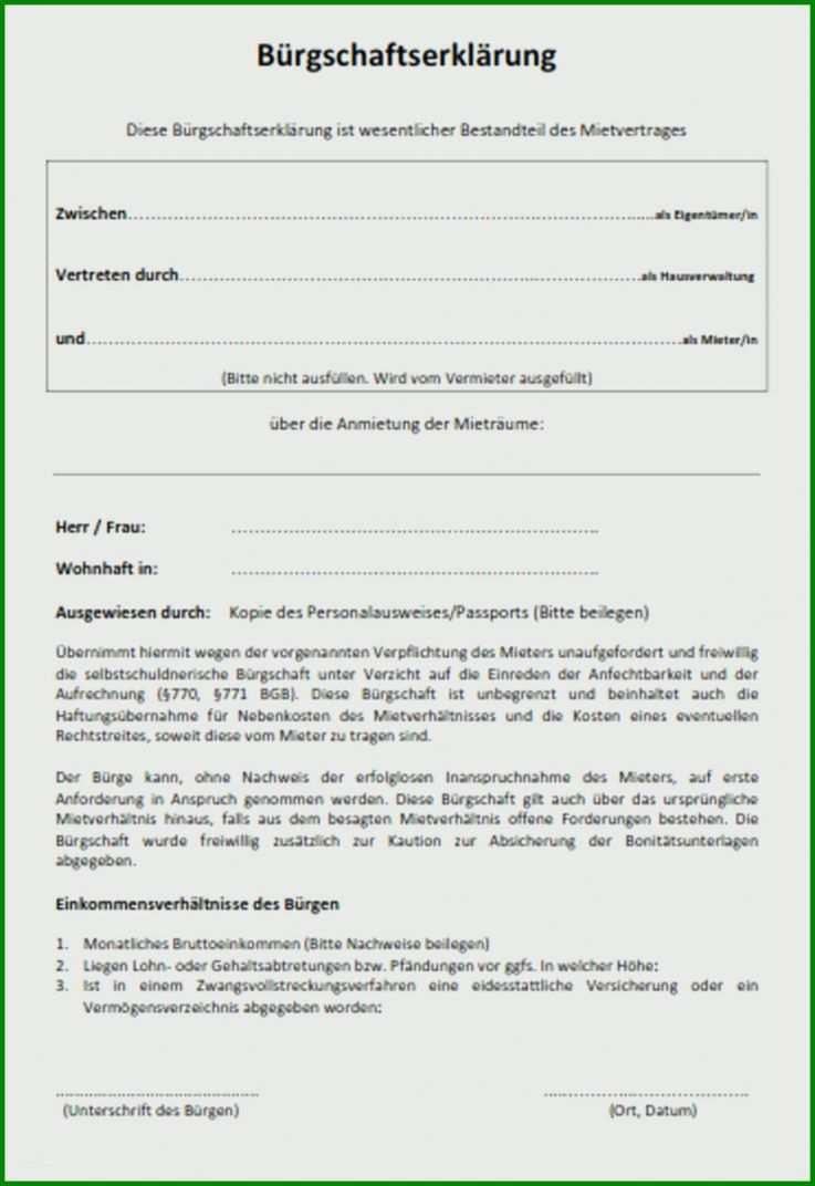 Mietbürgschaft Vorlage Kostenlos: 10 Designs Für 2019
