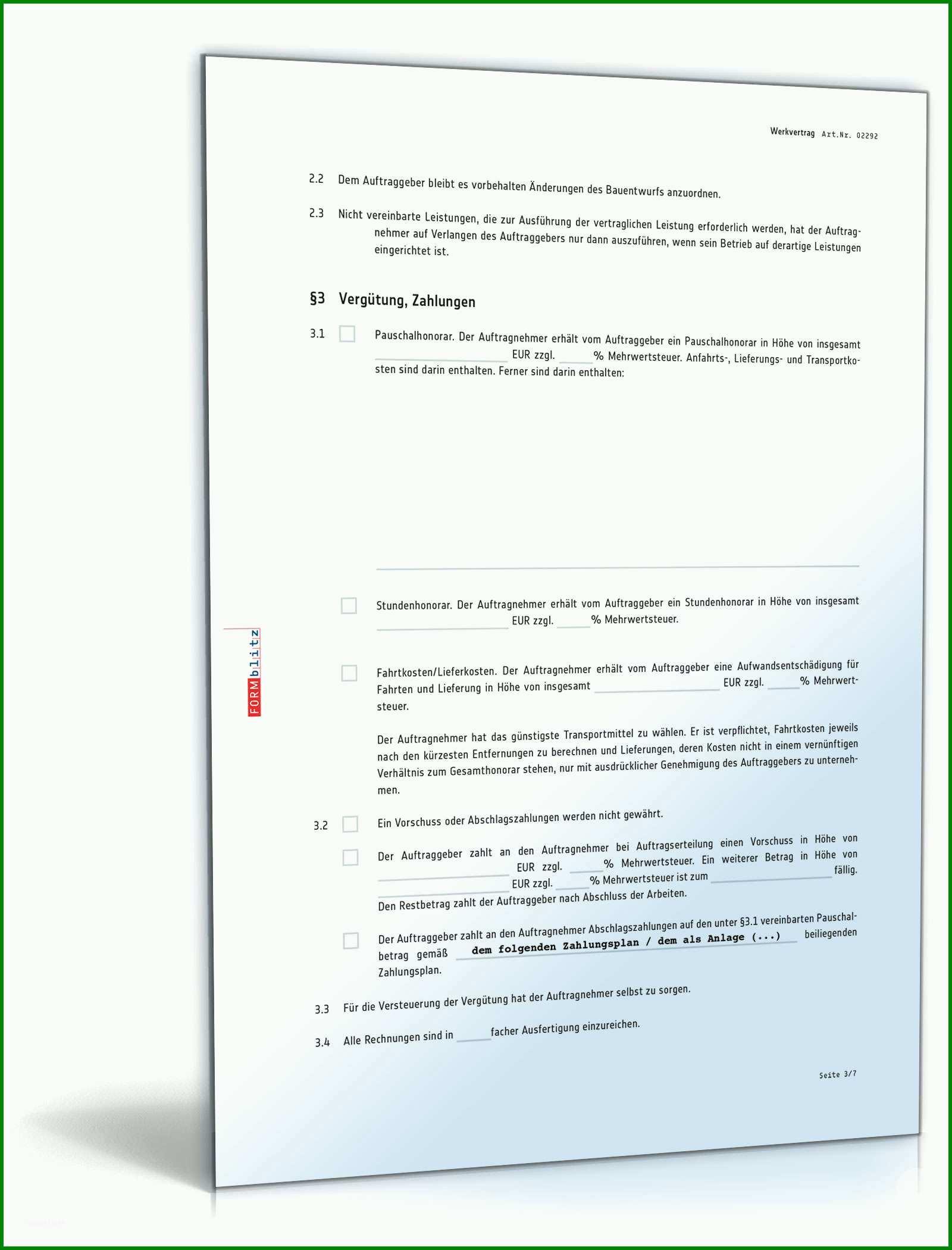 Werkvertrag Vorlage