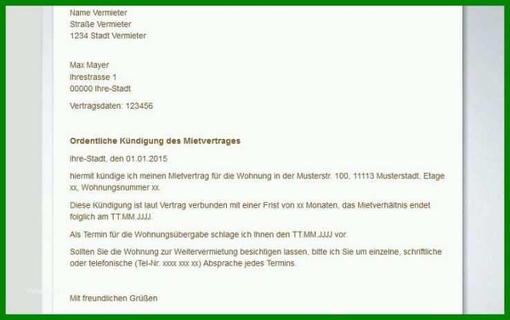 Kündigung Mietvertrag Vermieter Vorlage Word 8 Empfehlungen
